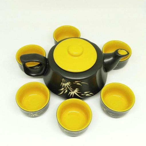 Bat Trang Pottery Tea Set Yellow
