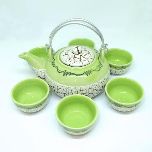 Bat Trang Round Tea Set Pottery Green 4