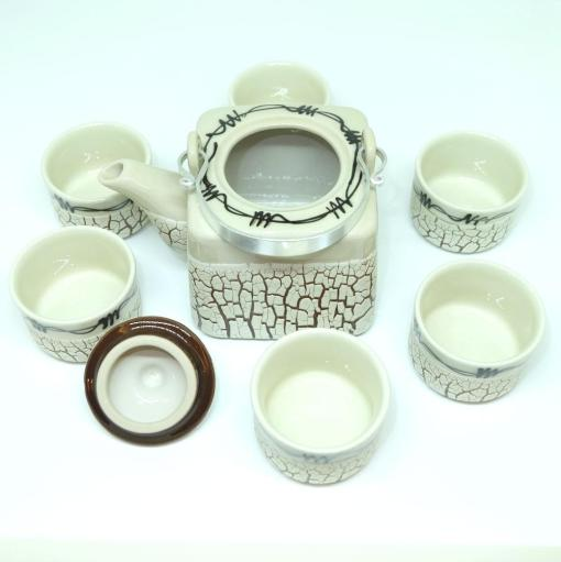 Handmade Bat Trang Pottery Tea Set Crack Glaze 2