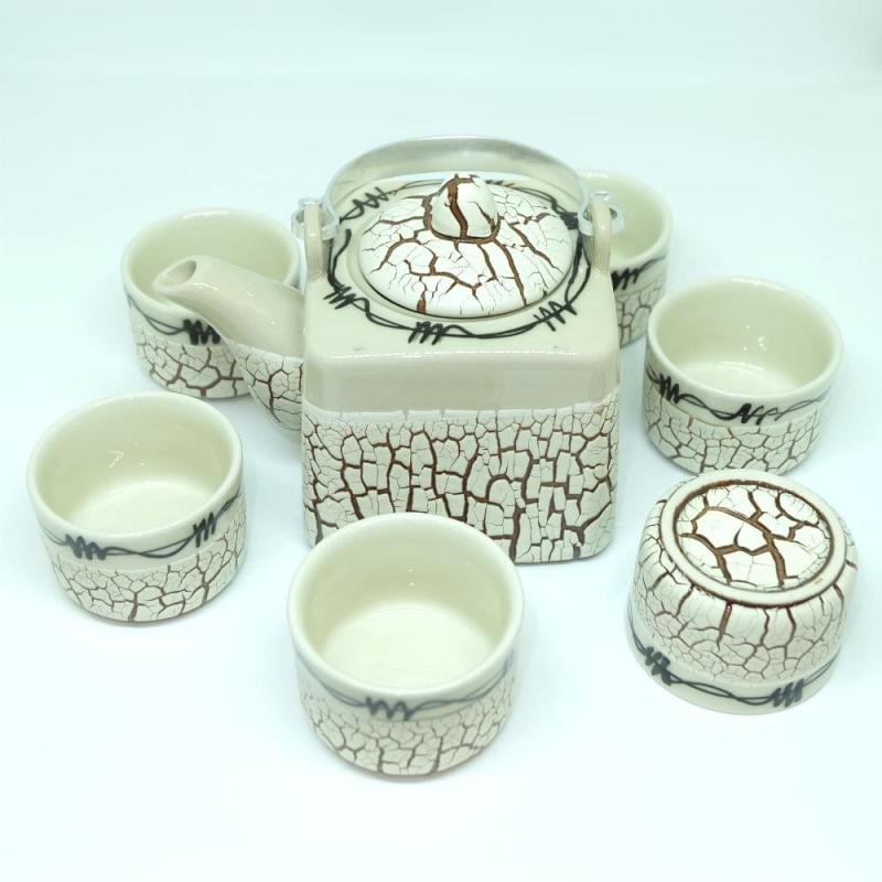Handmade Bat Trang Pottery Tea Set Crack Glaze 3