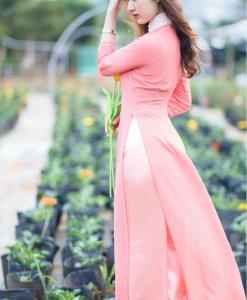 Soft Pink Silk Ao Dai Vietnam 3