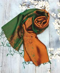 Dark Green Vietnam Natural Silkworm Women Scarf