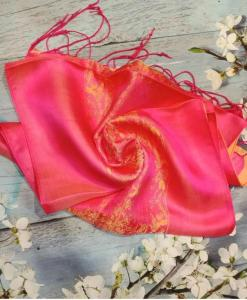 Orange Pink Women Scarves Natural Silkworm