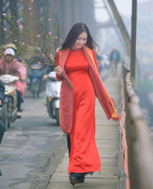Orange Red Ao Dai Vietnam Custom Made 3