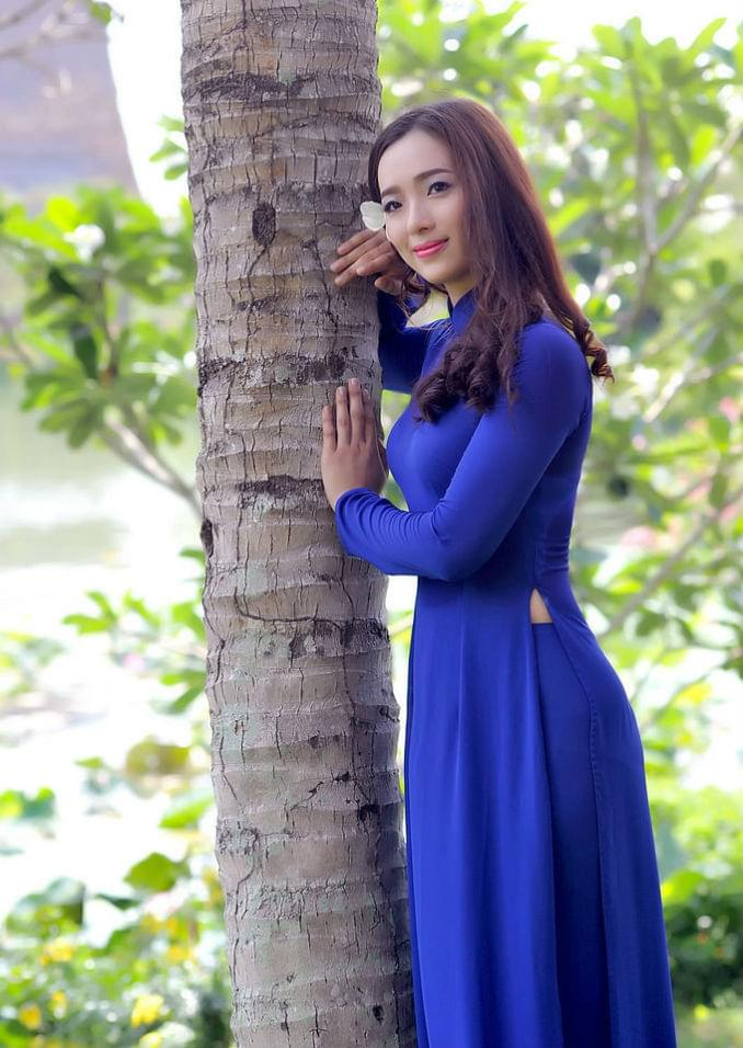 Vietnam Ao Dai Best Price Tailor Made King Blue Chiffon