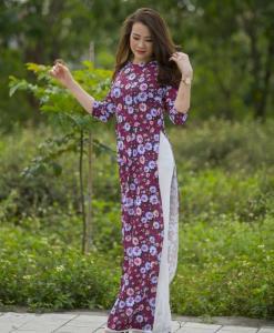New Traditional Floral Ao Dai Vietnam 2