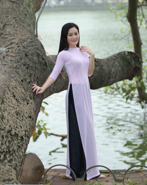 Ao Dai Vietnam Light Pink Chiffon 1