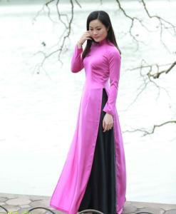 Vietnam Ao Dai Classical Pink Silk 1
