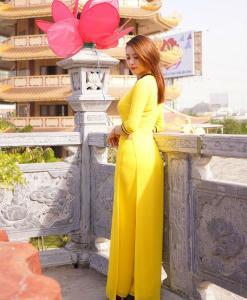 Vietnamese Long Dress Ao Dai Yellow 1
