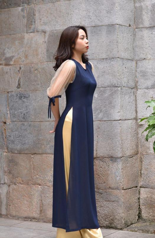 Ao Dai For Sale, Chiffon And Sheer, Dark Blue Color