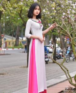 Embroidery floral Ao Dai 1
