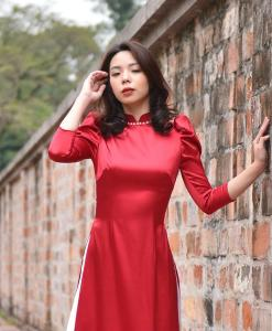shoulder pleated red ao dai
