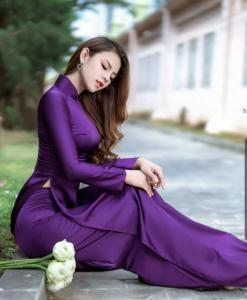 Robe violette Ao Dai 1