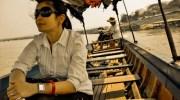 Bootje varen waar de Moon en de Khong samenkomen