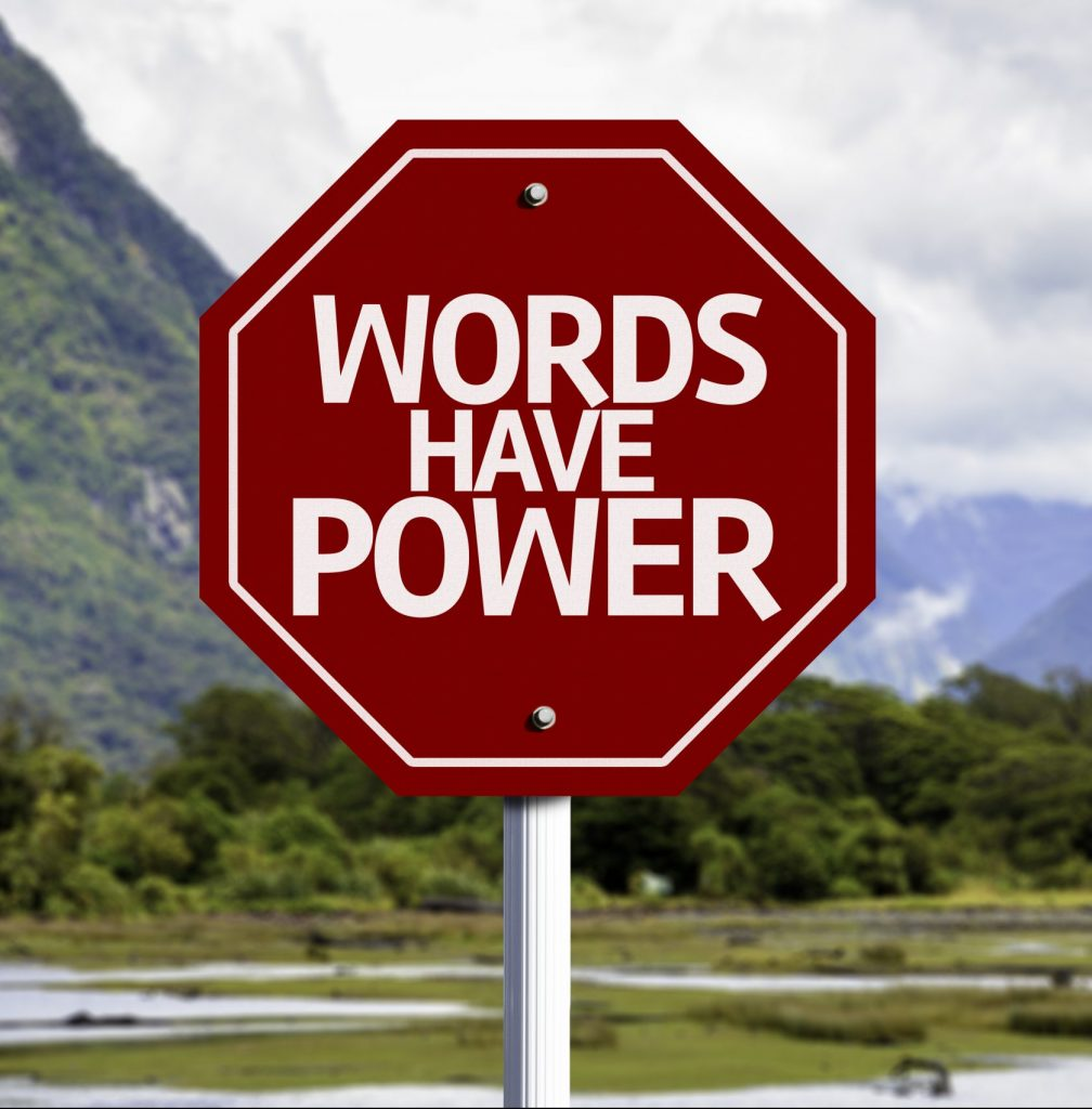 word have power, red sign with a landscape background