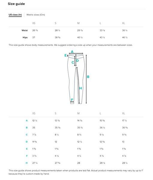 Higher TIdes Leggings Size Chart