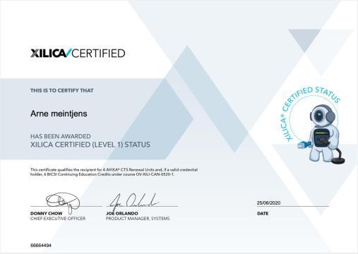 Xilica certificate behaald