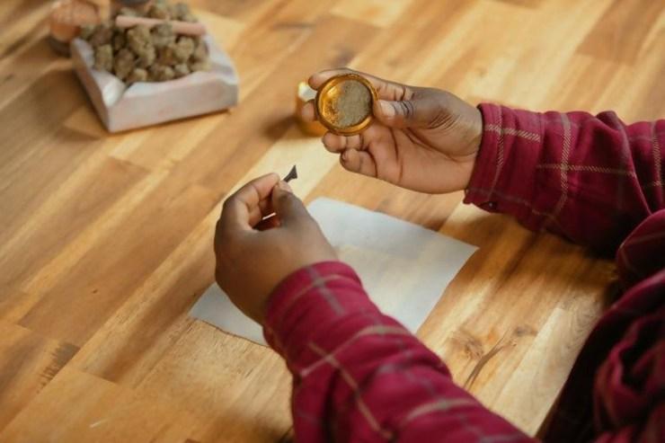 Our kief onto the parchment paper