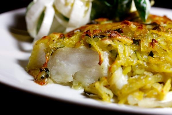 Kabeljau mit Wasabi-Kartoffel-Kruste