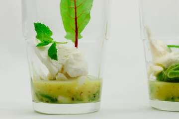 Salat von grünen Bohnen mit Ziegenkäse