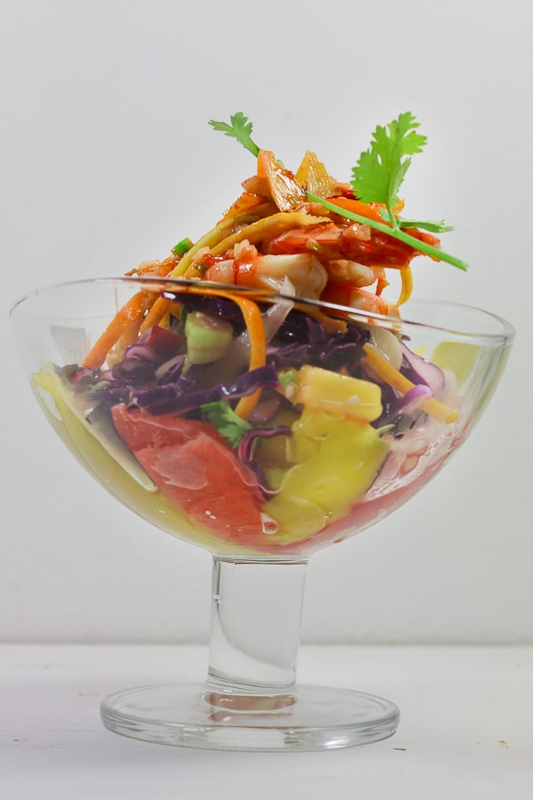 Ingwer-Garnelen mit Zitrus-Krautsalat