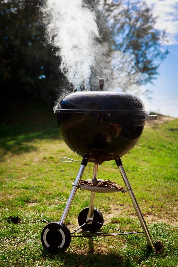 Pancetta-Zucchini-Röllchen vom Grill mit Kartoffelgratin und Pflaumen-Chutney