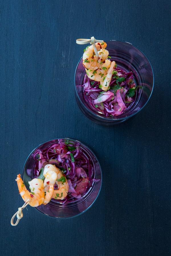 Rotkohl-Fenchel-Salat mit Koriander-Garnelen [Blogger für Dogger]