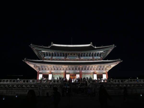 Gyeongbokgung palace at night, Seoul