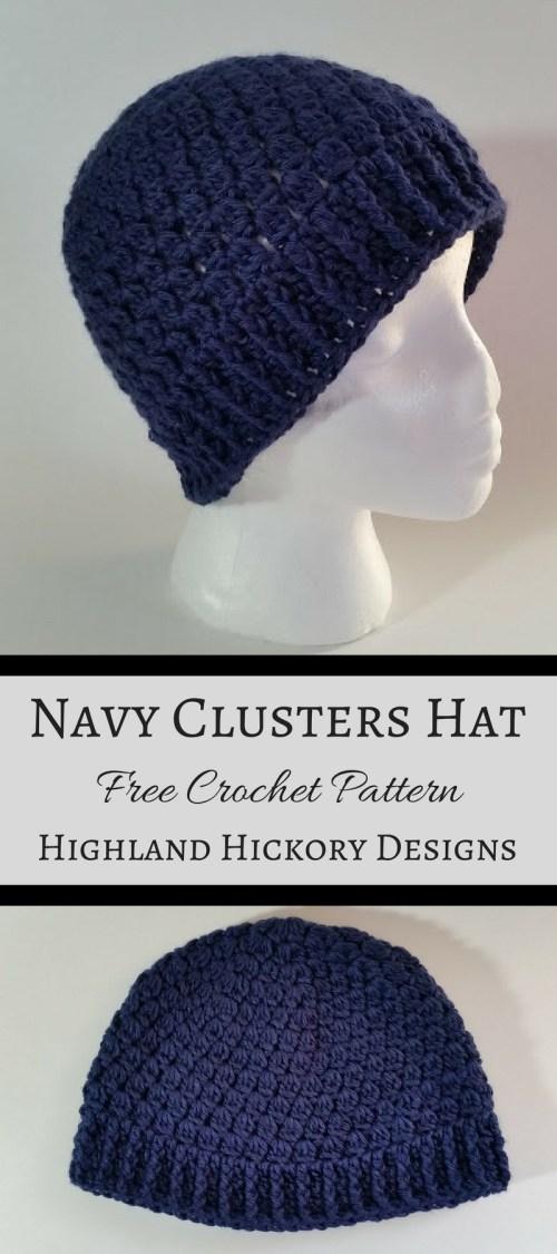 navy clusters hat. free crochet pattern
