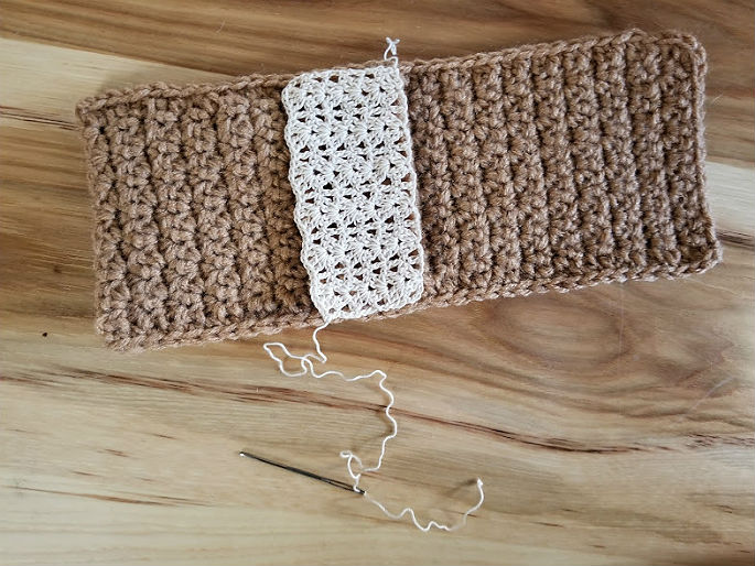 faux burlap and lace silverware pocket