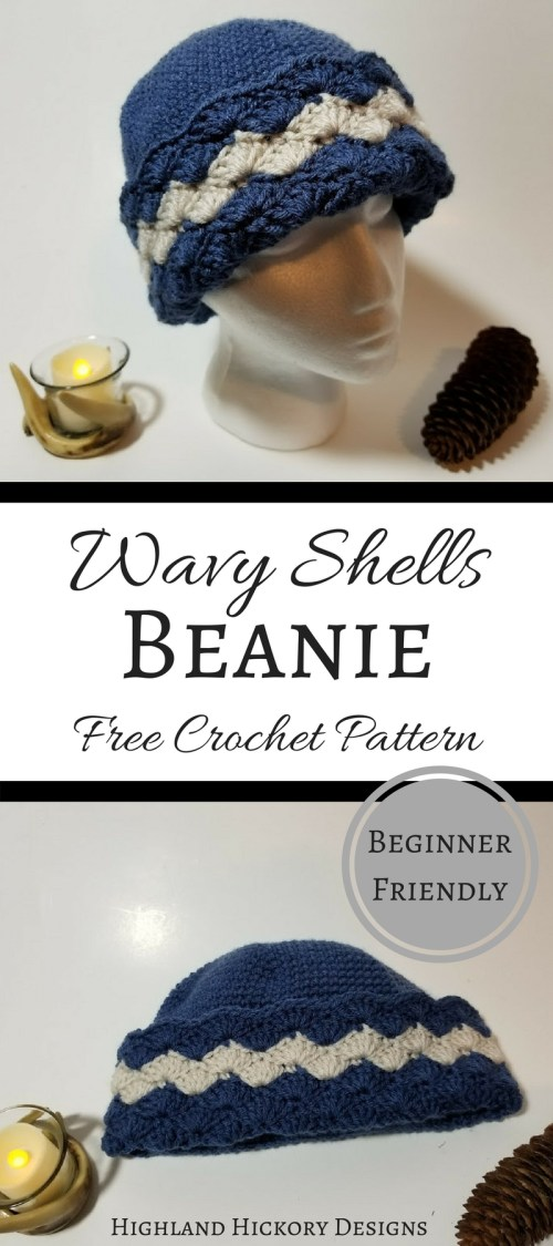 Crochet the Wavy Shells Beanie for a quick, easy, beginner friendly gift or keep it for yourself! It's a free pattern. Make one in every color! #crochet #freecrochetpattern #beanie #hat #toque