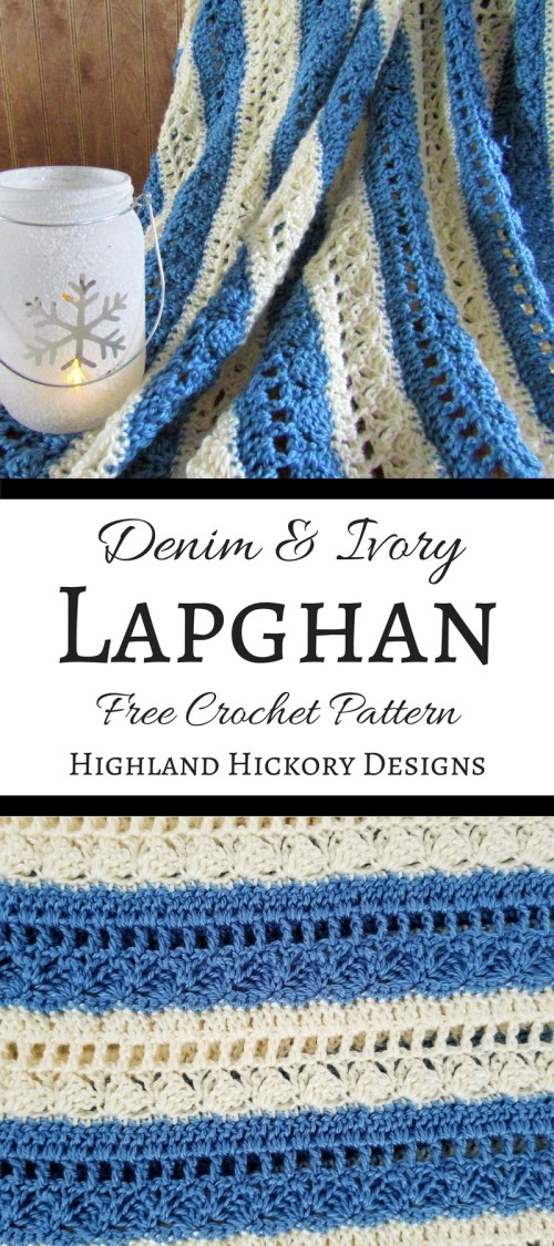 Denim & Ivory Lapghan - Highland Hickory Designs - Free Crochet Pattern