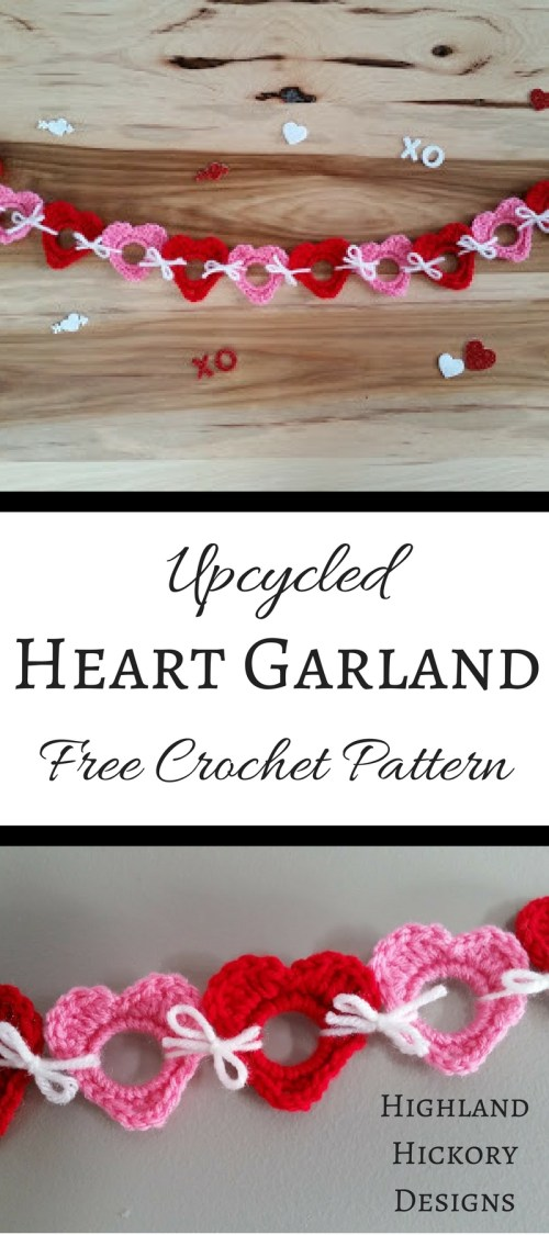 Crochet these adorable little hearts with this free pattern. Linked together, they make a beautiful garland, but alone, they are the sweetest little ornaments! Perfect for weddings, baby showers, anniversary parties, a child's birthday party, photo props or a child's bedroom or nursery decor. Use any colors you wish!
