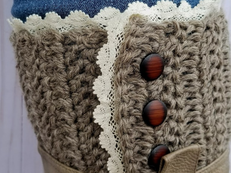 rustic boot cuffs with buttons and lace