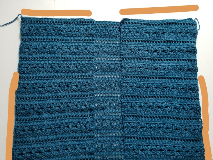 photo shows panels laid out flat and orange lines indicate where to seam