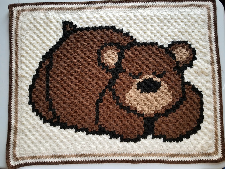 SLEEPY BEAR ON THE MOON Baby Afghan Graph Pattern *EASY