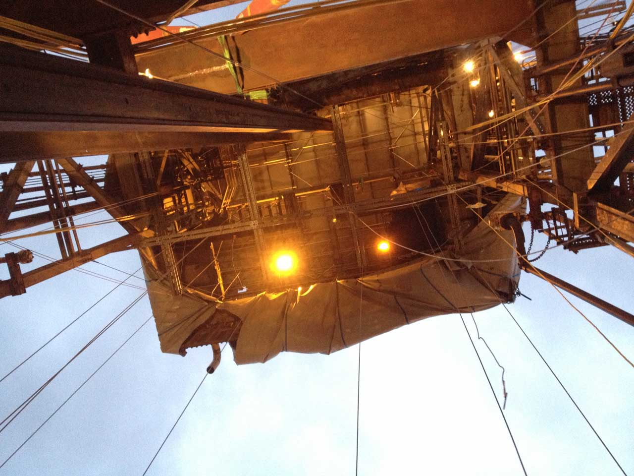 rope access technicians commence work on high level electrical installations