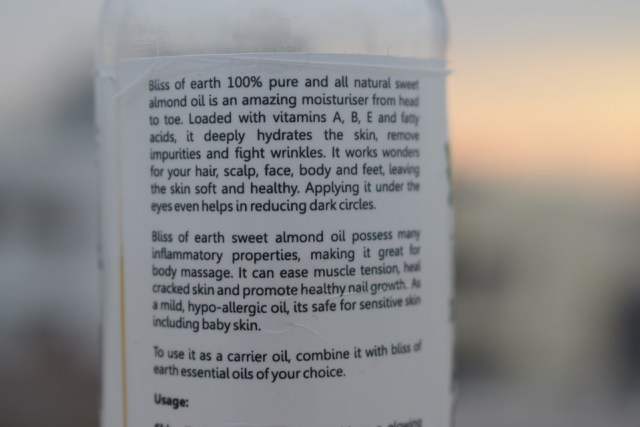 Bliss Of Earth 100% Pure Natural Almond Oil - Facts