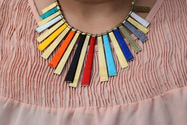 Multi Color Thread & Metal Neck Piece