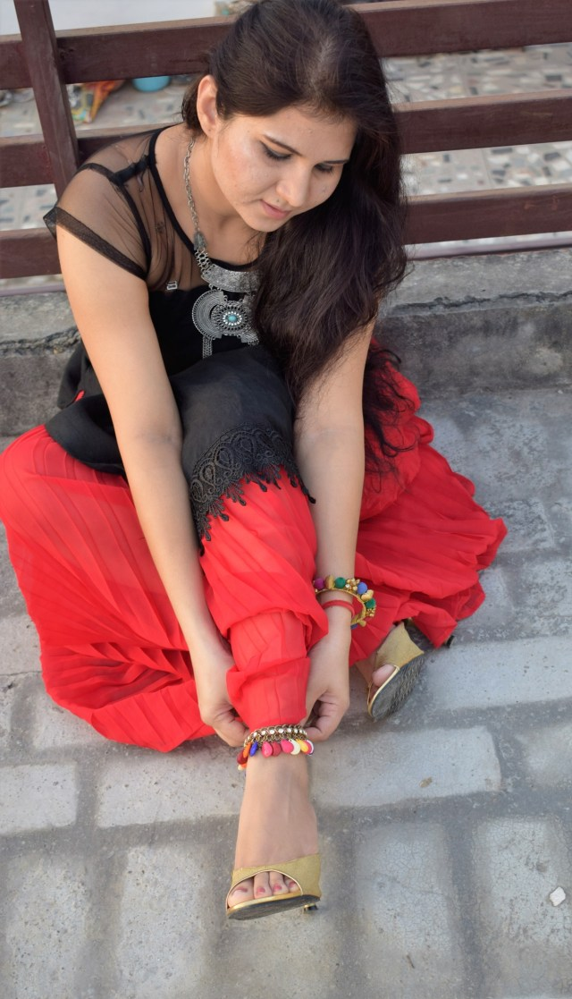 Black Kurta Red Skirt Fusion with Ankelet