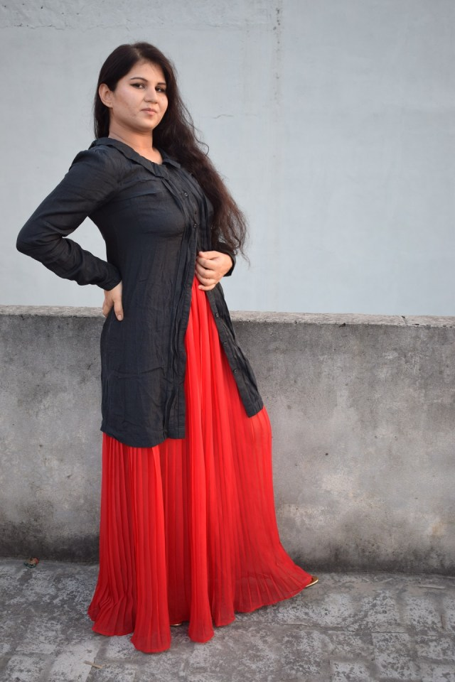 Black Shirt With Red Skirt Fusion