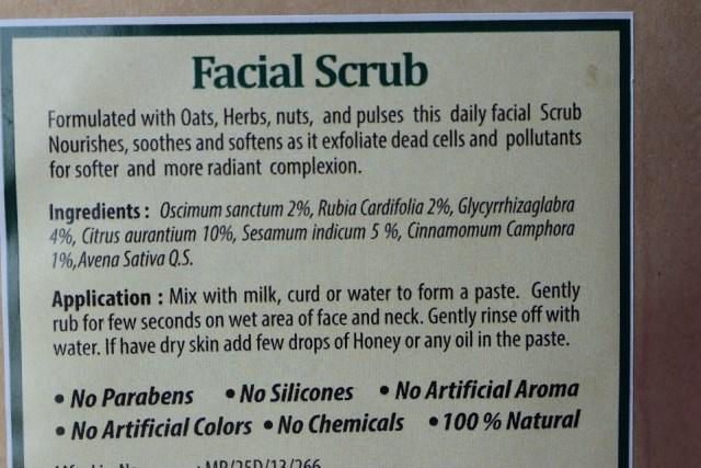 Vedantika Herbals Natural Spa Facial Scrub - ingredients