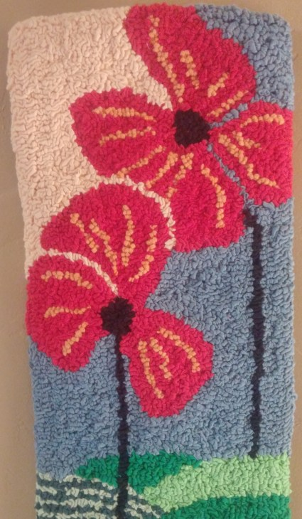 """""""Summer Poppies""""; 15""""x7.5""""; $55; Recycled t-shirts"""