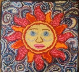 """""""The Sun""""; 20""""x20""""; $185; Wool, poly, t-shirts, ribbon, silk yarn"""