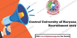 Central University of Haryana (CUH) 2019