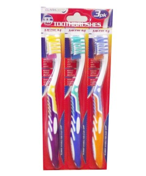 Toothbrushes Adult Size Pack of 3 On Separate Cards