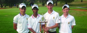 Junior golfers sharing a championship moment