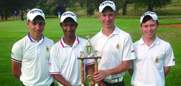 Junior golfers sharing a championship moment