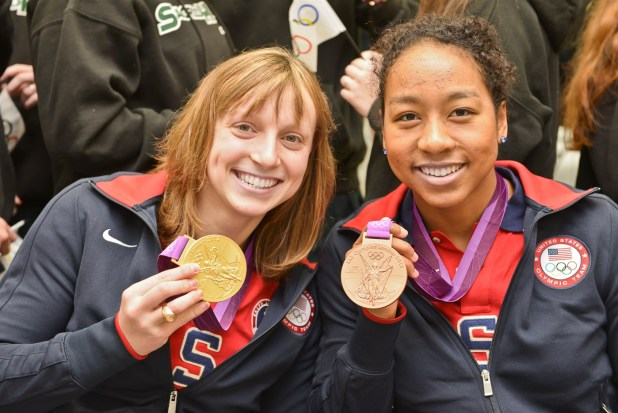 Katie Ledecky with Olympic teammate Lia Neal.