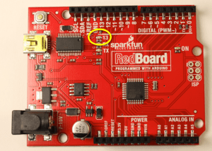 RedBoard with LED circled